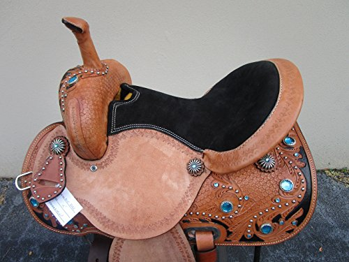 15 16 TURQUOISE BLUE BARREL RACING WESTERN SHOW TRAIL PLEASURE TOOLED LEATHER HORSE SADDLE (15) (Billy Cook Barrel Racer)
