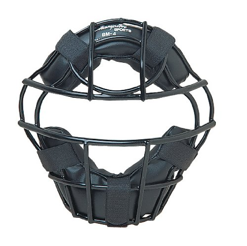 Champion Sports Youth Catcher's Mask: Kids Catcher Face Mask Shield with Strap, DryTek Padding and Throat Guard for Baseball or Softball - Black