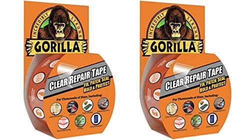 Gorilla 6027002-2 Clear Repair Duct Tape (2 Pack), 1.88