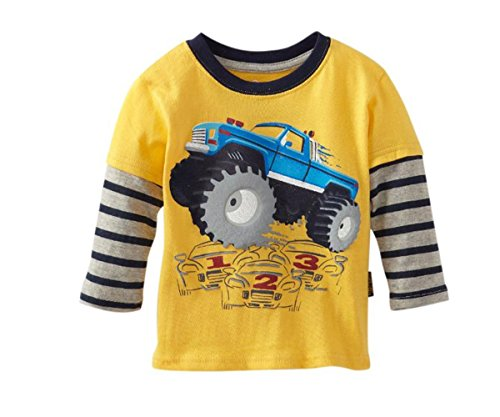 Little Boy Truck Long Sleeved T-Shirt Cotton Clothes,Truck Yellow,4T - Yellow Long Sleeved Shirt