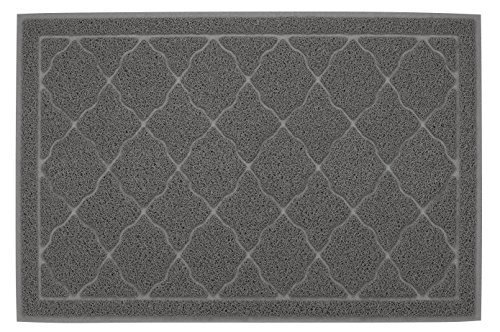 Finnkare Litter Mat for Cat Litter/Food,Extra Large Cat Pad ,Washable Non Slip Dogfood Mats Soft to Paws ,Fits Under Litter Box ,Gray Color 35 x 23.5 inch