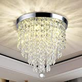 Luxurious Crystal Chandeliers Lighting, K9 Chandelier Crystals Ceiling Lights,φ300mm, Bead Lampshade with Clear Acrylic Jewel Droplets, Flush Mount LED Ceiling Light for Dining Room Bedroom Livingroom