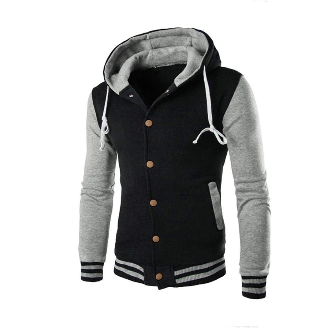 Fashion Hoodies Sweatershirts Men,Winter Slim Outwear Warm Hooded Coat Jacket Sweater (L, Gray)
