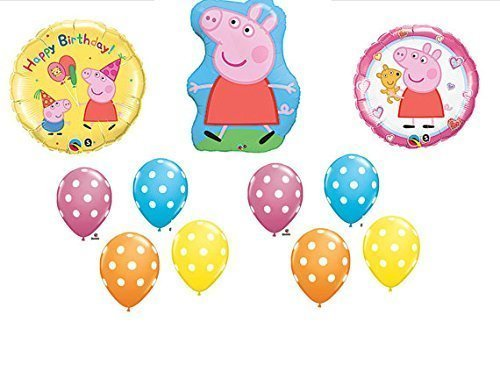 11pc. Peppa Pig Happy Birthday Balloon Set Bouquet by Anagram by Anagram ()