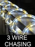 25FT PURE AND WARM WHITE 3 WIRE CHASING LED ROPE LIGHT KIT. CHRISTMAS LIGHTING. OUTDOOR ROPE LIGHTING