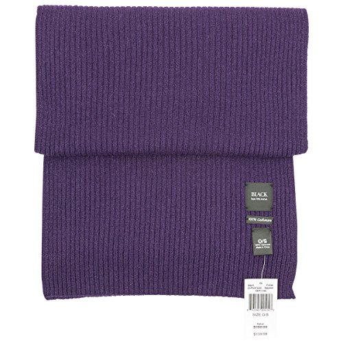 black saks fifth avenue 100% ribbed knit cashmere scarf in assorted colors (eggplant - Fifth Cashmere Avenue