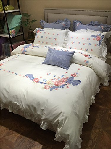60s Linen (4PCS 100% Cotton 60S sateen bed linen princess girls ruffle duvet covers double queen size white embroidered bedding sets)
