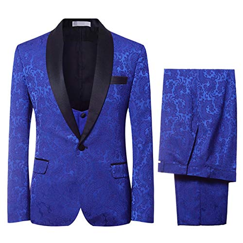 Men's Elegant Jacquard 3 Piece Suit Slim Fit Royal Blue Tuxedo,Medium,Blue from YFFUSHI