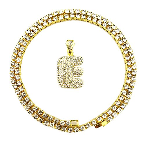 HH Bling Empire Iced Out Hip Hop Gold Faux Diamond Alphabet Letter Lucky Number Tennis Chain 20 Inch (Letter E -1)]()