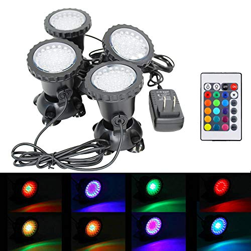 (i-mesh-bean Submersible Led Pond Lights,Set of 4 144 LEDs Underwater Pool Fountain Waterfall Lights Color Changing Lamp with Remote Control)