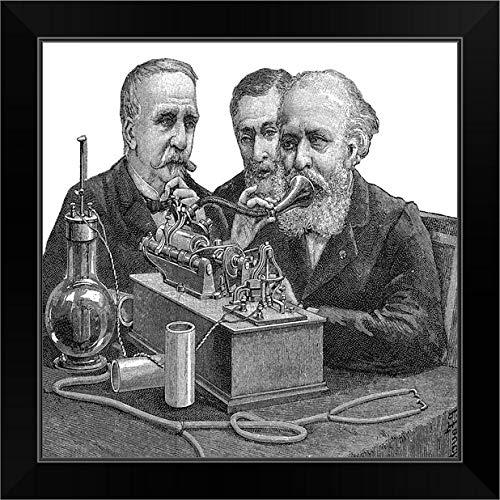 CANVAS ON DEMAND Early Telephone, Historical Artwork Black Framed Art Print, 19