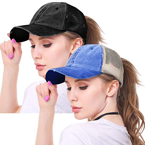High Ponytail Hole Baseball Hats Cap for Women,Messy Bun Hat Adjustable Cotton and Mesh Trucker Baseball Sun Cap Black - Braid Hat