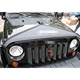 Dwindish 1 PCS Black Car Engine Cover Canvas Hood Cover Front End Bra Protector Kit Fit for Jeep Wrangler 2007-2015