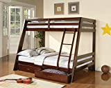 1PerfectChoice Youth Kids Twin over Full Bunk Bed w/ Storage Drawers Solid Wood Medium Brown