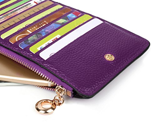 YALUXE Women's RFID Blocking Genuine Leather Multi Card Organizer Wallet with Zipper Pocket RFID Blocking Purple by YALUXE (Image #4)