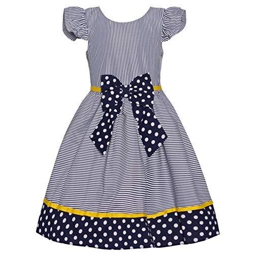 Rare Editions Little Girls Navy Pinstripe Polka Dot Ribbon Easter Dress 6