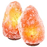 CRYSTAL DECOR Set of 2 Hand Crafted Natural Himalayan 10'' Salt Lamp On Wooden Base