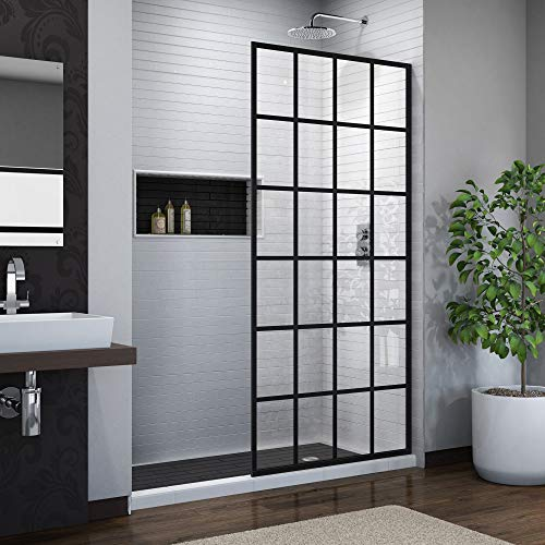 (DreamLine French Linea Toulon 34 in. W x 72 in. H Single Panel Frameless Shower Door, Open Entry Design in Satin Black, SHDR-3234721-89)