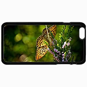Customized Cellphone Case Back Cover For iPhone 6 Plus, Protective Hardshell Case Personalized Butterfly Flowers Summer Sun Heat Black