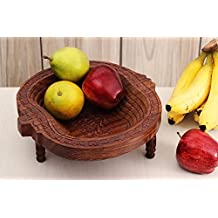Store Indya Decorative Wooden Fruit Basket Stand for Display Storage Collapsible Tabletop Kitchen Accessory