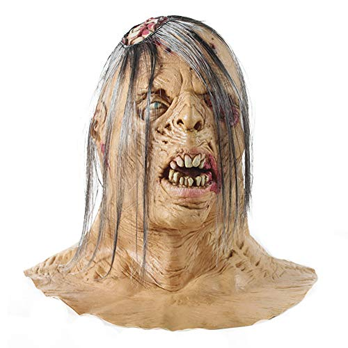 Scary Mask Halloween Ghost Mask, Halloween Adult Zombie Mask Scary Extremely Disgusting Full Face (B)