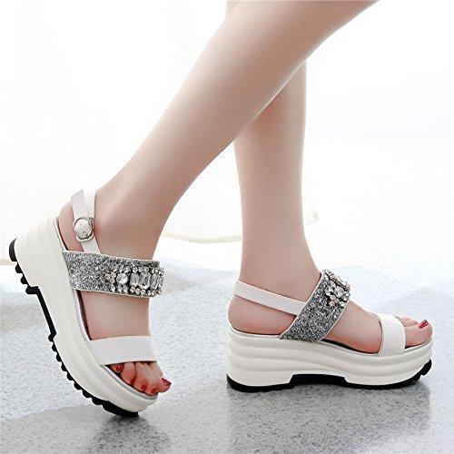 moda borsellino spesse colore semplicità la dei le l'estate white scarpe GTVERNH sandali scarpe femmina perle dopo la trentotto strass il ZPSX8R