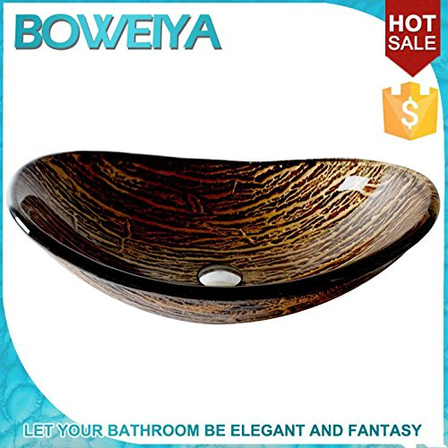 BL- Golden Boat shaped toughened glass art sink / contemporary bathroom tempered glass glass sink set (L560mm W370mm H175mm) , single basin price