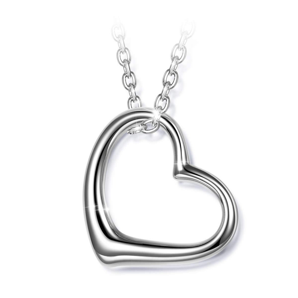 J.NINA 925 Sterling Silver Necklace Heart Necklaces for Women Mother's Day Jewelry for Women Gifts for Mom