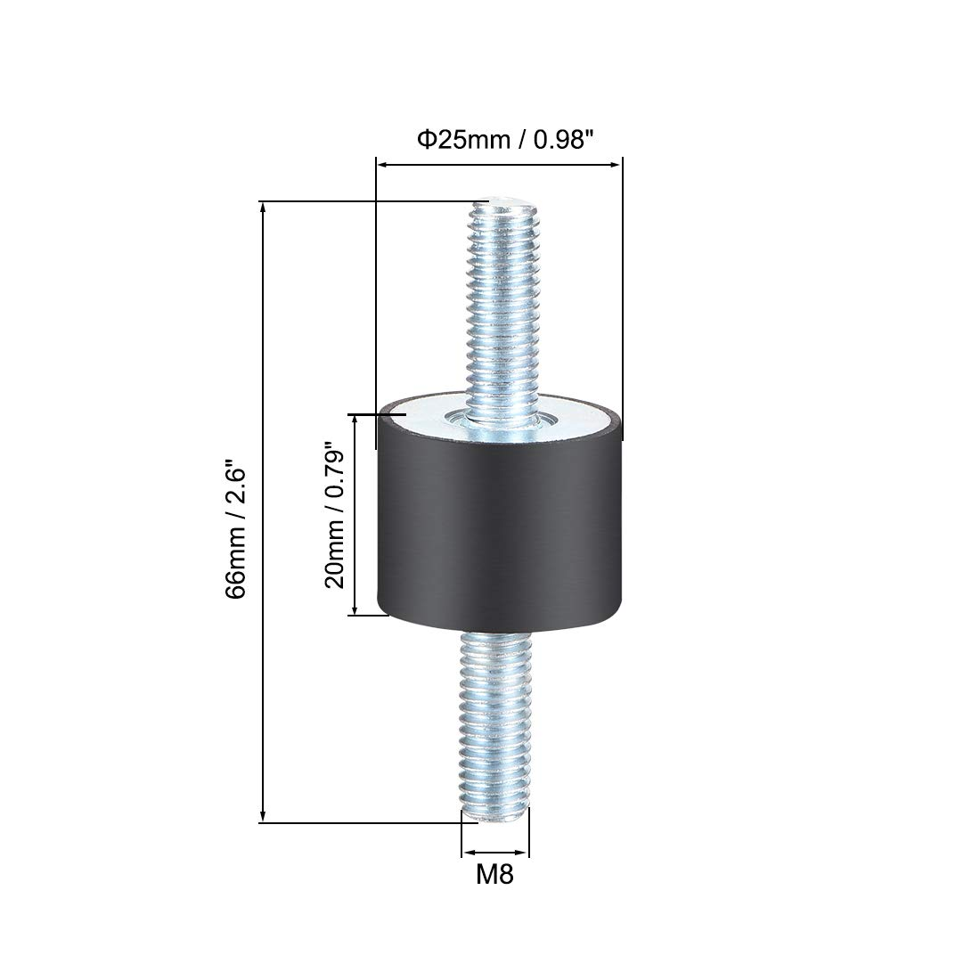 uxcell 30 x 20mm Rubber Mounts,Vibration Isolators,Shock Absorber with M8 x 23mm Studs