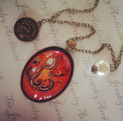 AQUARIUS Vintage Antique Retro Astrology Zodiac Oval Portrait Pendant Necklace with Faux Pearl & Character Coin Charm on the Chain. Dress up, Costume, Fashion Jewelry. LOW SHIPPING.