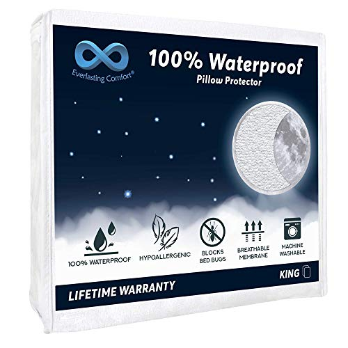 Everlasting Comfort 2-Pack King Size 100% Waterproof Pillow Protector, Hypoallergenic Pillow Covers, Breathable Membrane, Lifetime Replacement Guarantee (Packaging May Vary) ()