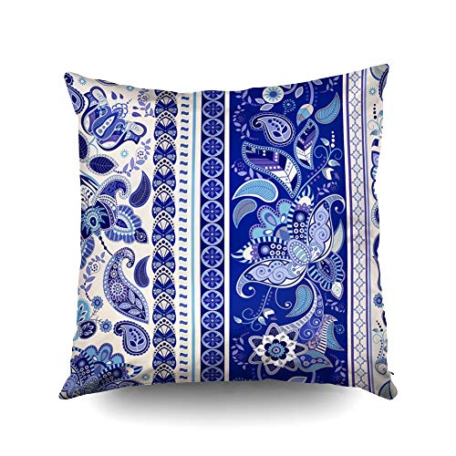(KIOAO Square Throw Pillowcase Covers Standard Striped Pattern Blue Floral Wallpaper Printed with Both Sides)
