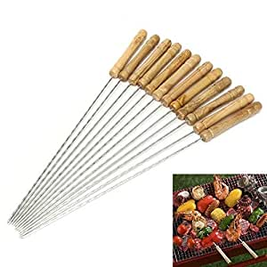 12 PCS BBQ Kebab Skewers - Wooden Handle Stainless Steel Metal Skewers - 30 cm Reusable Twisted Metal Kabab Sticks for Barbecue & Cooking (Type 1)