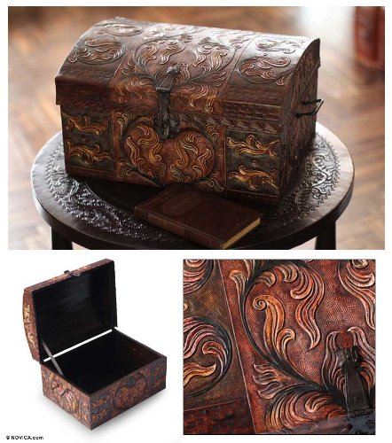 NOVICA Leaf And Tree Pinewood Leather Jewelry Box, Brown, 'Autumn Leaves' by NOVICA (Image #1)