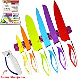 Colorful Kitchen Knife Set Sharp Cooking Cutting Knives by Ledish - Professional Colored Chef, Bread, Slicer, Santoku, Utility, Paring Knifes Sets - with Magnetic Strip, Sharpener, Brush, in Case.