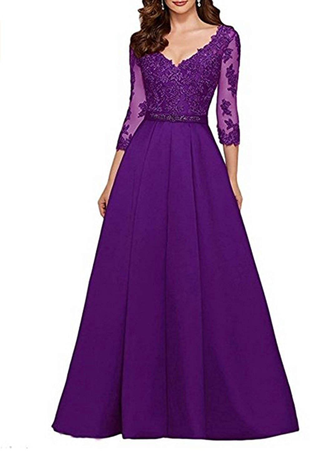 Purple Mother of The Bride Dresses Lace V Neck Long Sleeve Evening Prom Gowns Plus Size Mother Dress