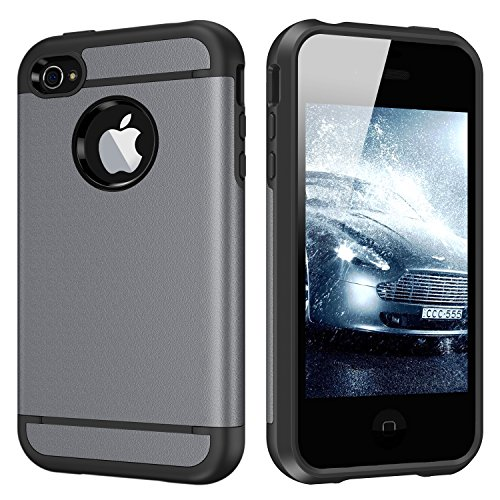 CHTech 5431918 iPhone 4S Case Dual Layer Hybrid Slim Armor Case with Solid PC and Shockproof TPU for iPhone 4/ 4S (Gray)