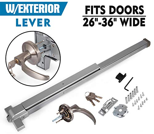 Happybuy Door Push Bar Panic Exit Device with Dogging Key and Exterior Lever Commercial Emergency Exit Bar Panic Exit Device for Wood Metal Door Panic Exit Bar (Push bar with Dogging Key and Lever) by Happybuy (Image #3)
