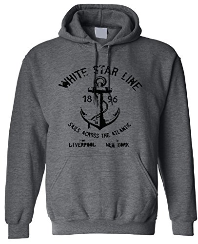 Adult White Star Line Titanic Hoodie Hooded X-Large Charcoal
