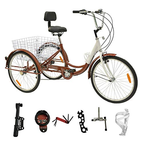 H&ZT Adult Tricycle Trike 7 Speed 3 Wheel Bike with Large Basket and Maintenance Tools, 24 Inch Wheel Size Bike Trike, Men's Women's Cruiser Bike (Brown, 7 Speed)