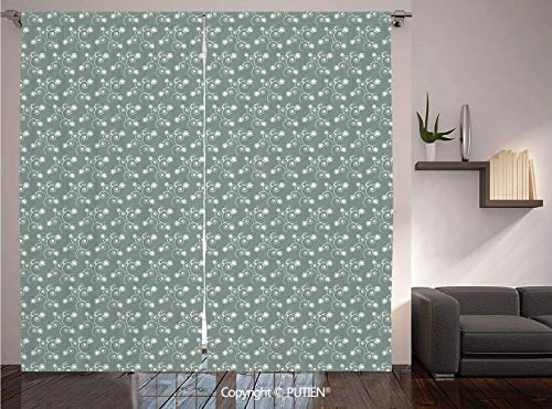 (PUTIEN Thermal Insulated Blackout Window Curtain [ Vintage Floral,Spring Meadow Themed Swirled Twigs with Tulips Buds,Light Sage Green White ] for Living Room Bedroom Dorm Room Classroom Kitchen Cafe)