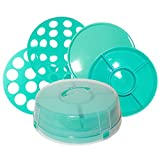 4 pie carrier - 4-in-1 Cake Carrier - kitchen safe locking container - cupcake caddy - cake plate with dome - dessert tray and cover - Locking lid pies container bundt cake holder