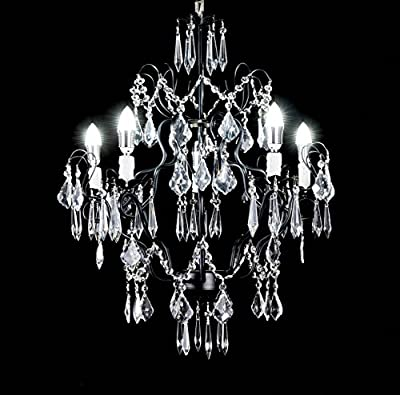 George Versailles Crystal Chandelier Antique Black Wrought Iron 5-Light Pendant Ceiling Lighting