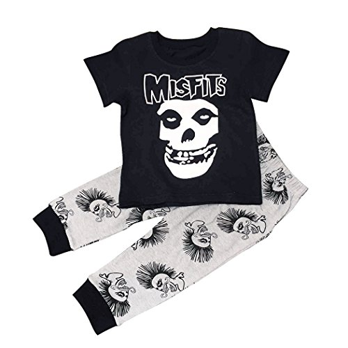 Maygold Baby Boys Cotton Clothes Set Toddler Skull T-Shirt Pants Black Summer Infant Outfit 2 (Band Clothing)