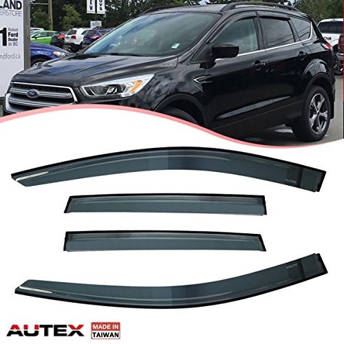 AUTEX 4Pcs Original Window Visor Deflector 94383 for 2013 2014 2015 2016 2017 Ford Escape Vent Visor Weather Shade Rain Guard (NOTE: It is NOT In-Channel Window Visor) (Weather Side Window Deflector)