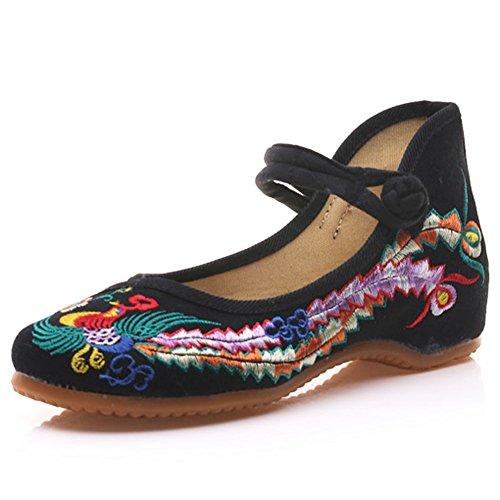Meta-U Women Embroidered Shoes- Wedge- Canvas- Phoenix Pattern- Mary Jane Shoes (8.5 B(M) US, - Phoenix Mary