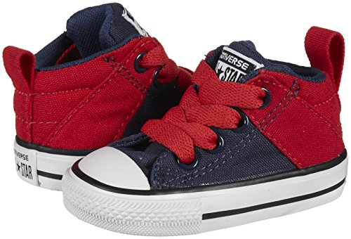 Converse Baby Chuck Taylor All Star Axel Mid Leather (Infant/Toddler), Navy/Red, 5