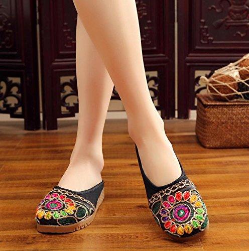 DESY Gestickte Schuhe, Sehnensohle, ethnischer Stil, weiblicher Flip Flop, Mode, bequem, Sandalen , black , 35