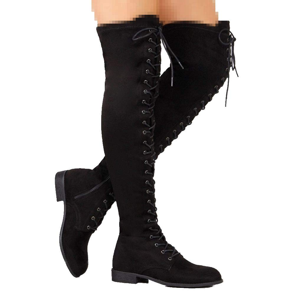 Dainzuy Long Boots for Women Chunky Heel Lace up Over-The-Knee High Riding Boots Wide Calf Combat Boots
