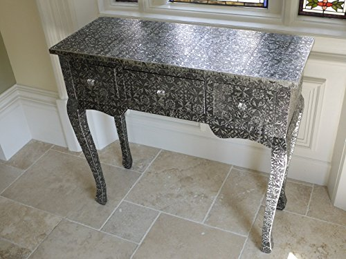 French Vintage Style Silver Embossed Dressing Table Console Table